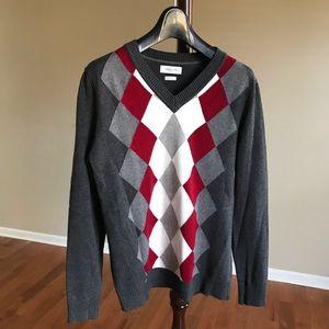 V-neck women's argyle sweater